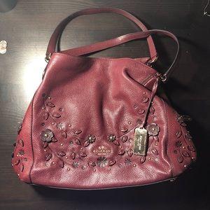 Burgundy Floral Coach purse